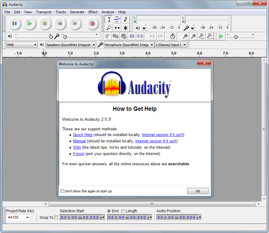 Audacity's screenshot