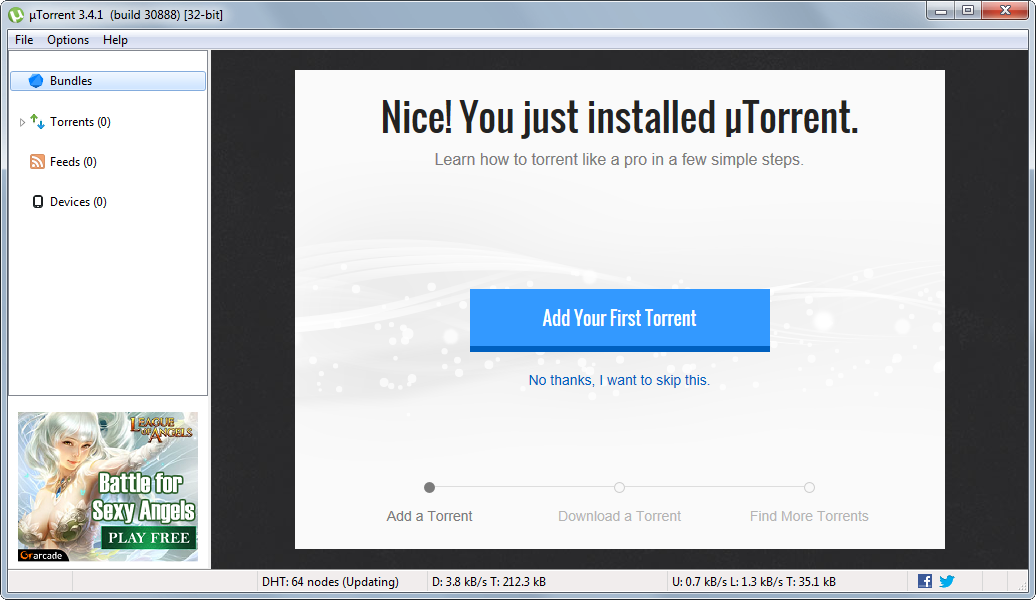 uTorrent's screenshot