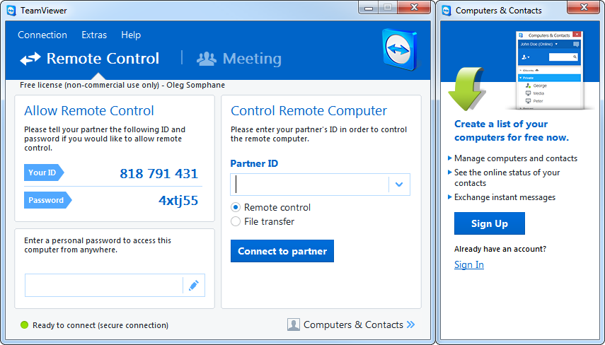 TeamViewer's screenshot